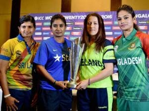 Indian Woman's Cricket Team captain Mithali Raj, Srilanka captain Shashikala Siriwardene, Ireland Captain Isobel Joyce and Bangladesh captain Jahanara Alam with ICC World WT20 trophy during a press