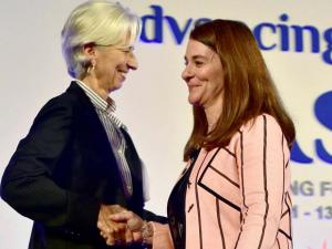 Christine Lagarde, managing director of the International Monetary Fund (IMF), left with Melinda Gates, co-chair of the Bill and Melinda Gates Foundation, at the Advancing Asia Conference