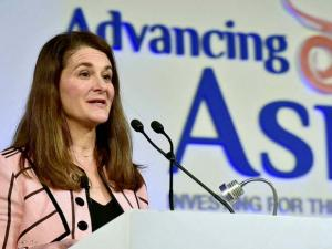 Melinda Gates, co-chair of the Bill and Melinda Gates Foundation, speaks at the Advancing Asia Conference in New Delhi