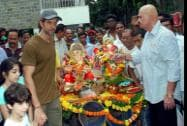 Bollywood actor Hrithik Roshan with father Rakesh Roshan and others participates in a procession