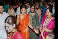 Bollywood actor Shilpa Shetty with family members participates in a procession