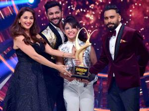 Madhuri Dixit present award to Alisha Behura from Bhilai during the Grand Finale of 'So You Think You Can Dance'