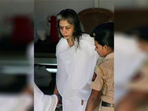 Indrani Mukherjee arrives to attend the post-death rituals of her father