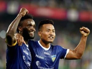Players of Chennaiyin FC Steven Mendoza