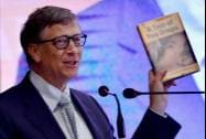 Bill Gates, Co-Chair & Trustee BMGF showing Union Health Minister Harsh Vardhan's book while speaking at the launch of India Newborn Action Plan