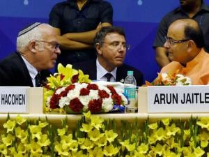 Union Finance Minister Arun Jaitley with Israeli Minister of Agriculture and Rural Development, Uri Ariel during the inauguration of 4th India Water Week- 2016, in New Delhi.