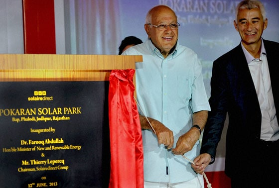 New and Renewable Energy Minister, Farooq Abdullah with Chairman, Solairedirect, Thierry Lepercq at a function to inaugurate Pokaran Solar Park, in New Delhi on Wednesday