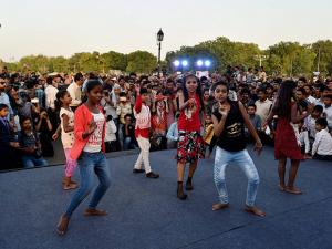Children perform during Stand Against Child Labour campaign
