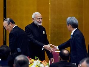 Prime Minister Narendra Modi with the chairman of Keidanren, Sadayuki Sakakibara