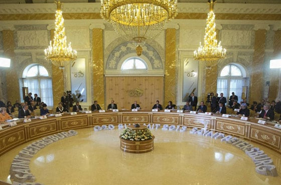 Russian President Vladimir Putin (Center) delivers his opening speech during the first working session of the G-20 Summit in Constantine Palace near St. Petersburg
