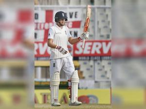 England batsman Joe Root celebrates after scoring a half-century