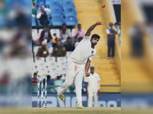 Indian bowler R Ashwin in action