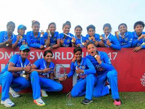 Indian women cricketers after winning their ICC Women's World Cup Qualifier final