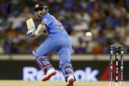 Ajinkya Rahane watches the ball while batting against the West Indies during their Cricket World Cup Pool B match