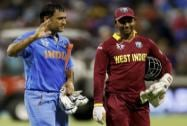 Indian captain M S Dhoni  with West Indies wicketkeeper Denesh Ramdin