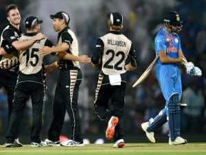 New Zealand players celebrate their victory against  India during the ICC T20 World Cup match