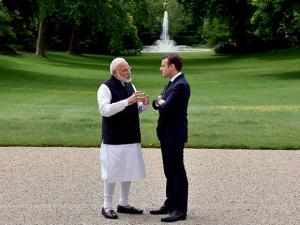 Narendra Modi and the President of France,  Emmanuel Macron, at Elysee Palace