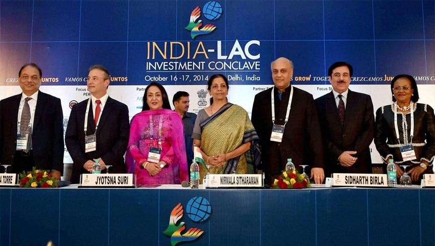 Minister of State, Commerce, Industry, Nirmala Sitharaman, FICCI President, Sidharth Birla, FICCI, Senior Vice President, Jyotsna Suri, INDIA-LAC, Investment, Conclave