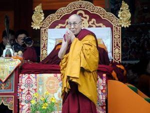 Tibetan spiritual leader Dalai during a religious discourse at Thubchog Gatsel Ling Monastery