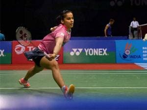 India's Saina Nehwal in action against Korean Hyun Sung Ji in the quarterfinal of Yonex-Sunrise India Open 2016, in New Delhi