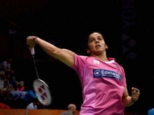 India's Saina Nehwal in_action against Korean Hyun Sung Ji in the quarterfinal of Yonex-Sunrise India Open 2016, in New Delhi