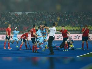 Indian team celebrate after a goal against  England