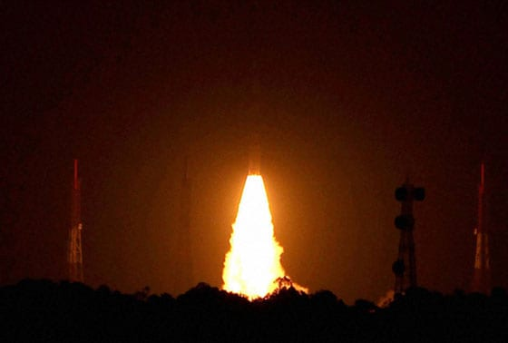 India's first navigational satellite  IRNSS -1A, blasts off from Sriharikota, AP, on Monday