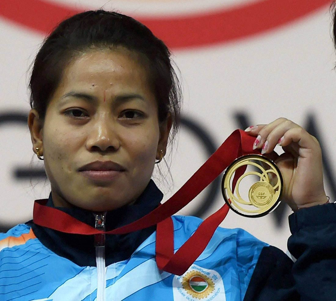 India's gold medalist, Sanjita Khumukcham, medal, presentation, ceremony,  48-kg women's, weightlifting, event, Commonwealth Games, Glasgow