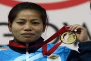 India's gold medalist Sanjita Khumukcham presentation  medal ceremony of  48-kg women's weightlifting