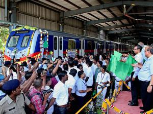 The first batch of coaches manufactured at the Integral Coach Factory