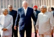 Abdul Kalam with Vajpayee and Swiss President Pascal Couchepin