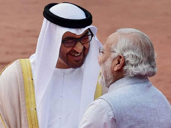 Narendra Modi, Prince Sheikh Mohamed Bin Zayed Al Nahyan, Al Nahyan,  Abu Dhabi, Shushma Swaraj, UAE crown prince in Delhi, UAE, India UAE