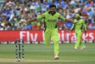 Pakistan bowler Sohail Khan celebrates a wicket during the World Cup Pool B match against India in Adelaide