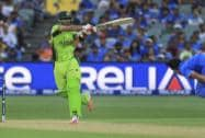 Pakistan's Ahmed Shehzad plays a shot during the World Cup