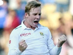 South Africa's bowler Harmer