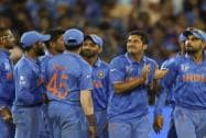 Indian players celebrate the dismissal of South Africa's David Miller