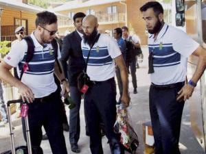 AB de Villiers and Hashim Amla with team members arrive at the HPCA hotel