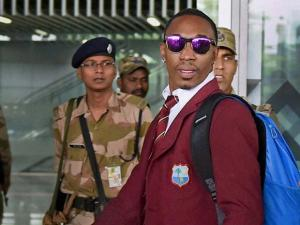 West Indies cricketer Dwayne Bravo arrives at NSCBI Airport for the upcoming T 20 World Cup