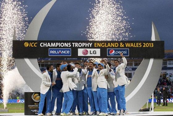 India celebrate winning the ICC Champions Trophy Final cricket match against England at Edgbaston cricket ground, Birmingham