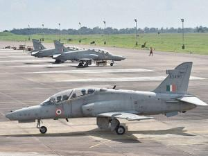 Advanced jet trainer Hawks get ready to take off as a part of a flying show at Kalaikunda airbase