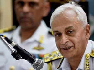 Navy Chief Admiral Sunil Lanba addresses the media during the de-induction