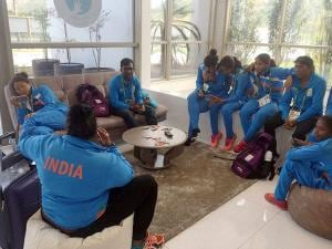Members of Indian women's hockey team on their arrival in Rio de Janeiro
