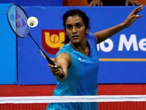 PV Sindhu in action in Yonex Sunrise Indian Open 2016 in Siri Fort Sports Complex in New Delhi