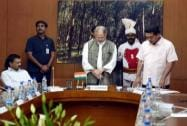 Kapil Mishra being sworn-in as Delhi Law Minister by Lt Governor Najeeb Jung