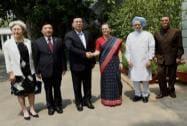 Zhang Dejiang meeting Congress President Sonia Gandhi