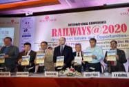 "Railway Minister Suresh Prabhu and other dignitaries while launching a publication on ASSOCHAM Conference on ""Railways@2020"""