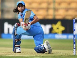 India's Velaswamy Vanitha plays a shot during the ICC Women's World T20 match against Bangladesh at Chinnaswamy Stadium