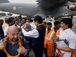 Indians evacuated from South Sudan arrive  at Air Force Station Palam