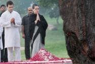 Congress President Sonia Gandhi and Rahul Gandhi paying tribute to former Prime Minister Indira Gandhi on her 30th Death Anniversary