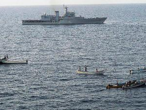 The Indian Navy thwarts a piracy attempt on a Liberian vessel in the Gulf of Aden